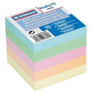 Blok kocka DONAU nelepená 83x83x75mm pastelové farby