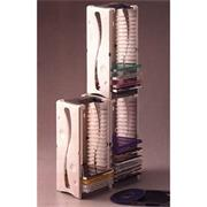 Box na 20 ks CD, šedý, veža, stohovateľný zvisle aj vodorovne