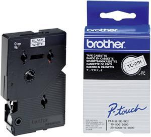 Brother páska TC-291, biela/čierna (9mm/7,7m)