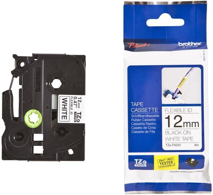 BROTHER TZE-FX231, bílá / černá, 12 mm
