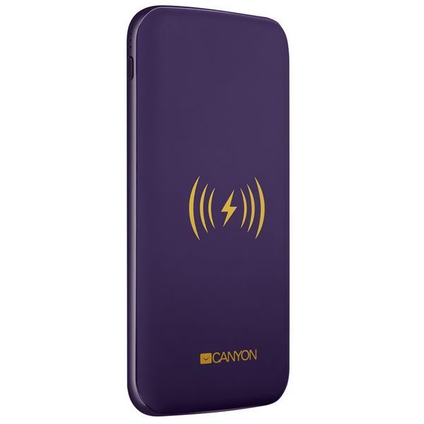Canyon Powerbank, bezdrôtová, 8.000 mAh, USB-C, fialová