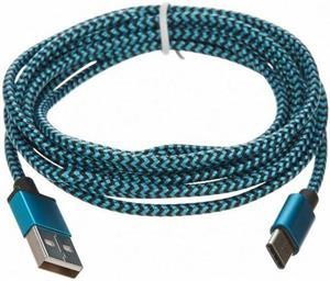 CELLFISH USB-C, 2 m, opletený kábel, modrý