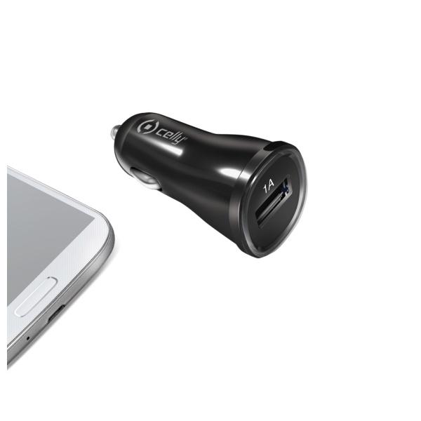 CL autonabíjačka CELLY s USB výstupom, 1A, čierna, blister