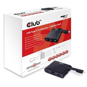 Club3D USB3.1C-RJ45+USB3.0+USB3.1C redukcia M/F+F+F, adaptér
