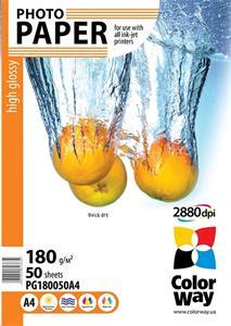 ColorWay A4 fotopapier, 180g/m2, vysoko lesklý, 50 listov