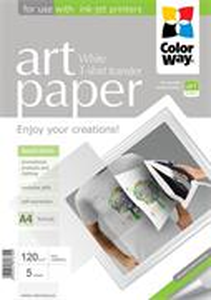ColorWay A4 nažehľovací papier ART, 120g/m2, biely, 5 listov