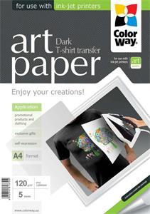 ColorWay A4 nažehľovací papier ART, 120g/m2, tmavý, 5 listov