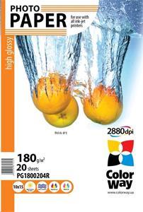 ColorWay A6 Fotopapier, 180g/m2, vysoko lesklý, 10x15, 20ks