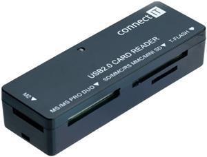 Connect IT - Čítačka pamäťových kariet, ULTRA SLIM, čierna