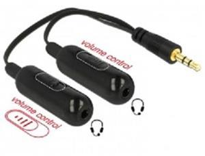 Delock audio rozbočovač stereo jack samec 3.5 mm 3 pin > 2 x stereo jack samice 3.5 mm 3 pin + Ovládače hlasitosti