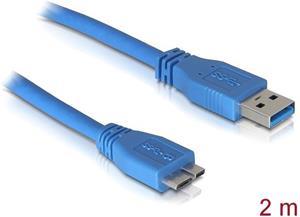 Delock USB3.0A-microUSB3.0 kábel M/M, 2.0m, prepojovací, modrý