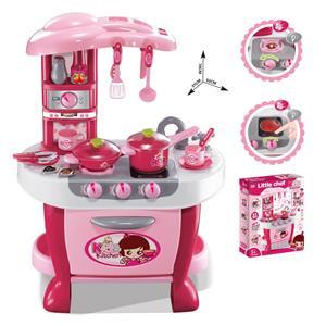 Detská kuchynka s príslušenstvom, ružová