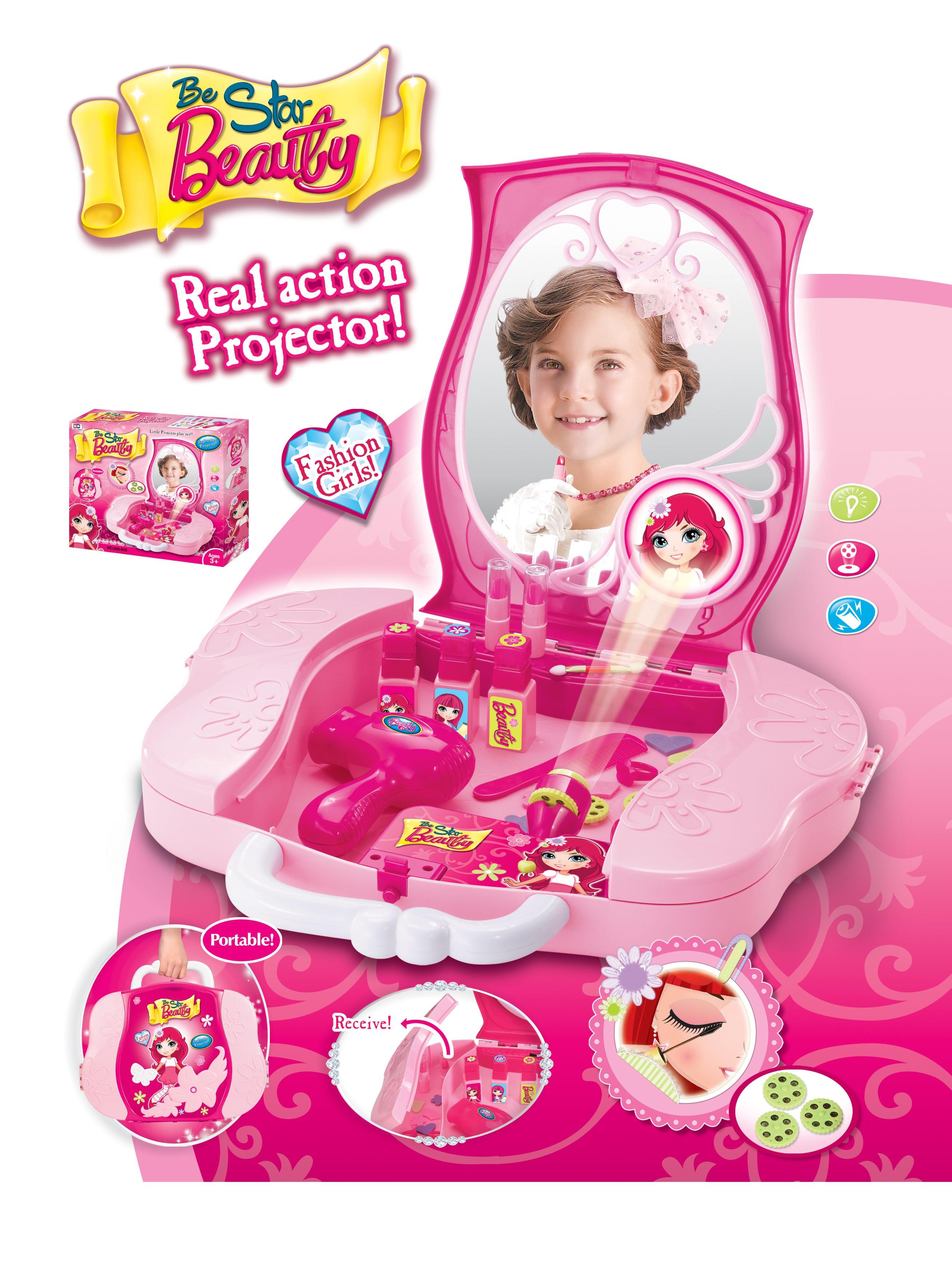 Detský kozmetický kufrík s príslušenstvom s projekciou