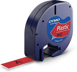 Dymo, 91203, S0721630, čierna tlač / červený podklad, 4m, 12mm, LetraTag plastov