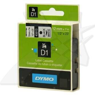 Dymo originál páska do tlačiarne štítkov, Dymo, 45013, S0720530, čierny tlač/biely podklad, 7m, 12mm, D1