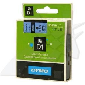 Dymo originál páska do tlačiarne štítkov, Dymo, 45016, S0720560, čierny tlač/modrý podklad, 7m, 12mm, D1