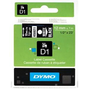 Dymo originál páska do tlačiarne štítkov, Dymo, 45021, S0720610, biely tlač/čierny podklad, 7m, 12mm, D1