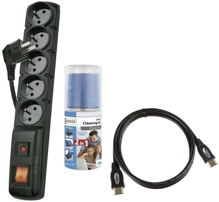 Emos set prepäťová ochrana 5 zásuviek 1,5m + čistiaca sada + HDMI kábel 1,5m
