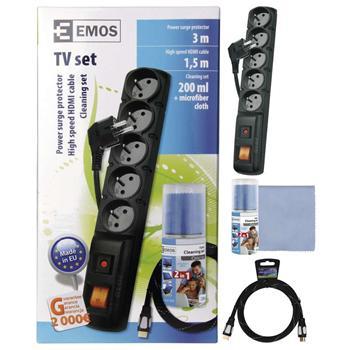 Emos set prepäťová ochrana 5 zásuviek 3m + čistiaca sada + HDMI kábel 1,5m