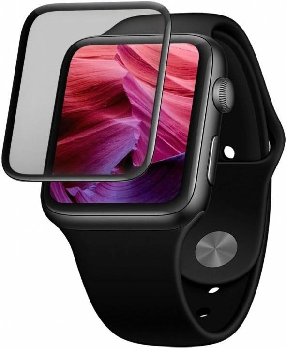 Fixed 3D Full-Cover Ochranné tvrdené sklo pre Apple Watch 44mm s aplikátorom, s lepením cez celý displej, čierne