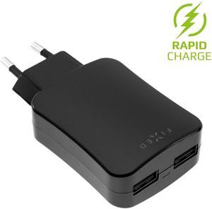 Fixed sieťová nabíjačka s 2x USB výstupom, 24W (2x2,4A), čierna