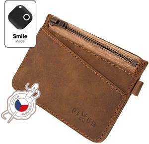 Fixed Smile Coins Kožená peňaženka so smart trackerom Fixed Smile Motion, hneda