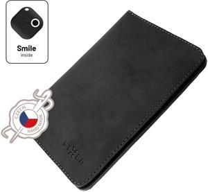 Fixed Smile Passport Kožená peňaženka so smart trackerom Fixed Smile Motion, veľkosť cestovného pasu, čierna