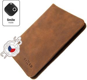 Fixed Smile Passport Kožená peňaženka so smart trackerom Fixed Smile Motion, veľkosť cestovného pasu, hnedá
