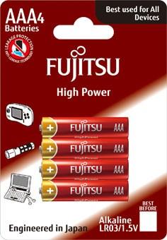 Fujitsu High Power alkalická batéria LR03/AAA, blister 4ks
