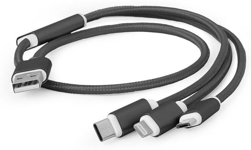 Gembird USB nabíjací kábel 3v1, 1m, čierna