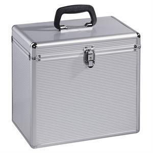 Hama 181435, kufrík na 50 gramofónových platní (vinyl/LP), hliníkový vzhľad, strieborný