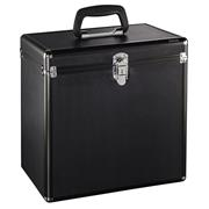 Hama 181436, kufrík na 50 gramofónových platní (vinyl/LP), hliníkový vzhľad, čierny