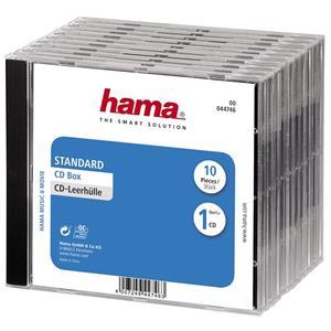 Hama CD box, náhradný obal na 1 CD, priehľadný/čierny, 10 ks