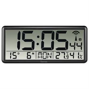 Hama Jumbo, digitálne nástenné hodiny, riadené rádiovým signálom, čierne