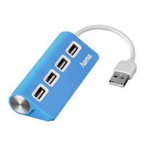 Hama USB 2.0 Hub 1:4, napájanie USB, modrý