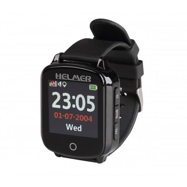 Helmer inteligentné hodinky pre seniorov s GPS, čierne