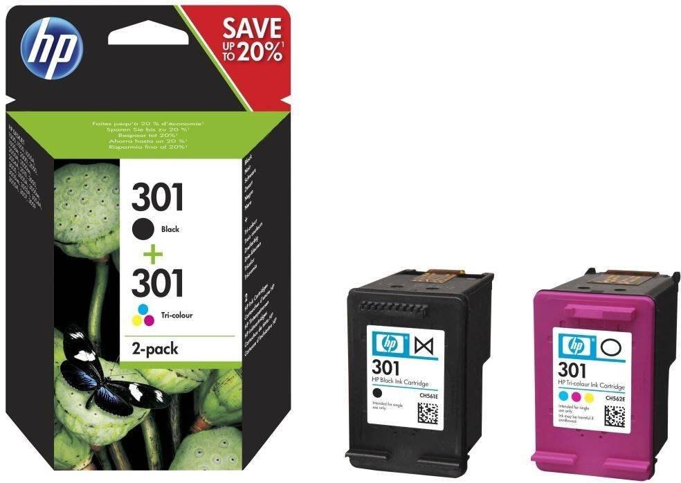 HP 301, čierna + farebná, 2-balenie