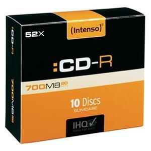 Intenso CD-R, 1001622, 10-pack, 700MB, 80min., 12cm, bez možnosti potlače, slim case, Standard, pre archiváciu dát