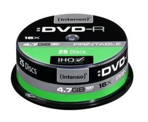 Intenso DVD-R [ cake box 25 4.7GB 16x  printable   Extra Fine Matt   F