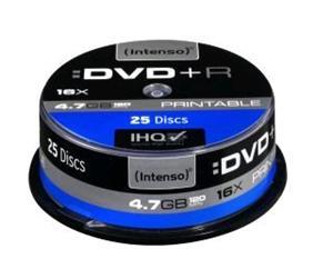 Intenso DVD+R [cake box 25|4.7GB|16x| Printable| Extra Fine Matt | Ful