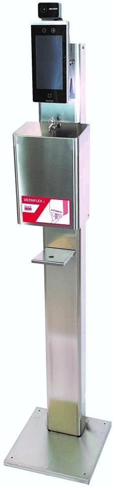 Kamerový terminál na bezkontaktné meranie teploty, kontrolu rúška a dezinfekcie rúk