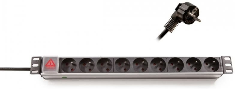 """Keline 19"""" Rozvodný panel 9x250V, vypínač, 1U 2,3m"""