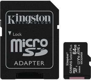 Kingston Canvas Select Plus micro SDXC Class 10 UHS-I 64GB+adaptér