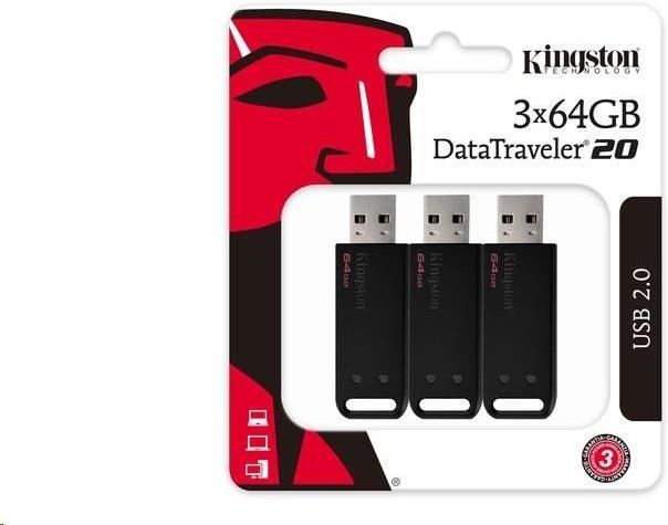 Kingston DataTraveler 20 64 GB, čierny (3 ks)