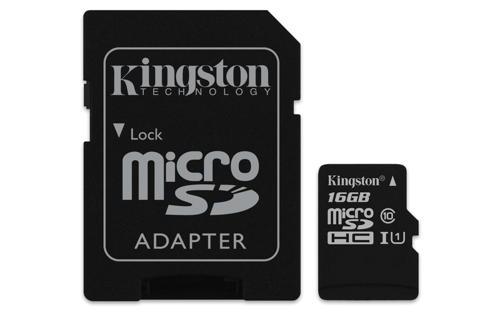 Kingston microSDHC 16GB + adaptér