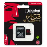 Kingston microSDXC 64GB UHS-I U3 V30 A1 + adaptér