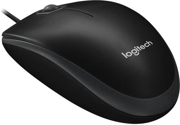 Logitech B100, optická myš, čierna