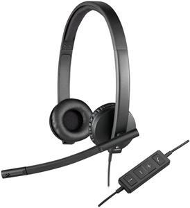 Logitech H570e, slúchadlá, USB, čierne