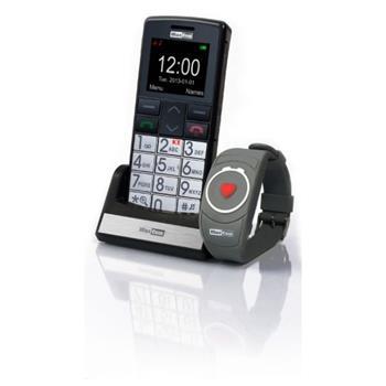 Mobilný telefón pre seniorov MAXCOM MM715, SOS náramok, čierny