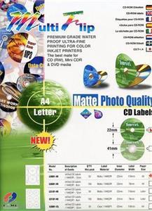 nálepky BOMA 50ks A4 CD/DVD Multi Flip LD001-HI